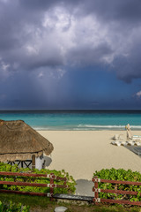 Colorful Caribbean Shore waiting for Storm, Cancun, Mexico