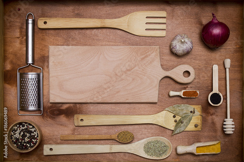 Set of wooden utensils and spices
