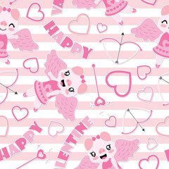 Seamless pattern of cute pig as cupid and Valentine elements on striped background vector cartoon illustration for Valentine wrapping paper, kid fabric clothes, and wallpaper