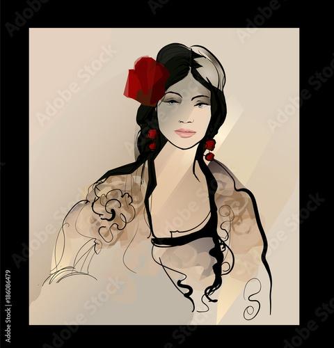 Foto op Aluminium Art Studio Traditional Spanish Flamenco woman