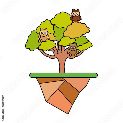 Keuken foto achterwand Uilen cartoon cute animals and tree