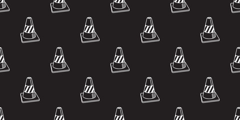 Traffic cones icon vector seamless pattern isolated wallpaper background illustration black © CNuisin
