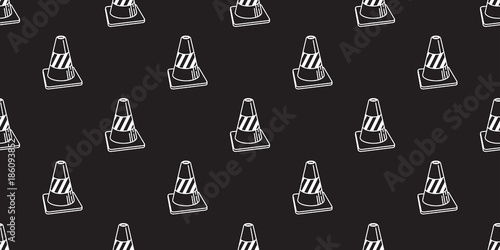 Traffic cones icon vector seamless pattern isolated wallpaper background illustration black