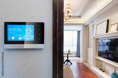 Foto Murales smart screen with smart home with modern living room