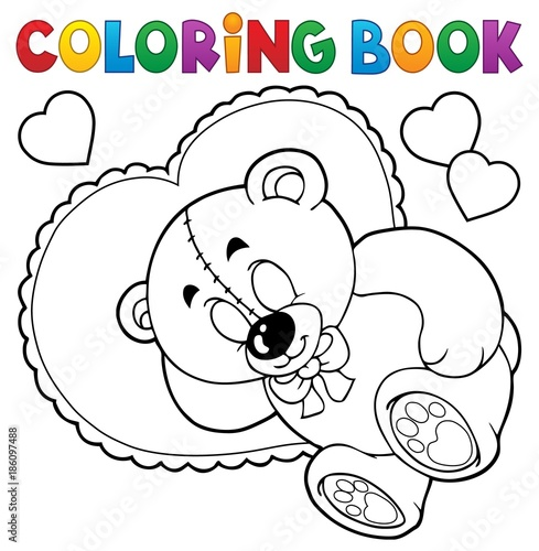 Fotobehang Voor kinderen Coloring book teddy bear theme 2