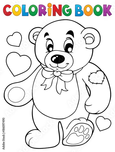 Fotobehang Voor kinderen Coloring book teddy bear theme 1