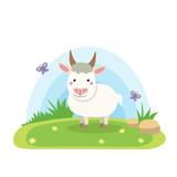 Farm animals with landscape - cute cartoon vector illustration with goat - 186103476