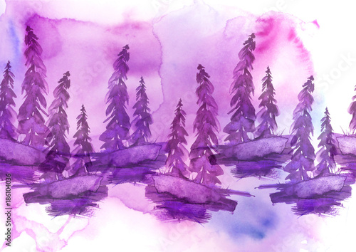 Papiers peints Lilas Watercolor drawing - forest landscape, spruce, pine, slope. Pink, lilac on a white background.