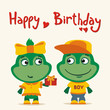 Happy birthday! Greeting card: funny frog girl gives gift to boy frog for birthday.