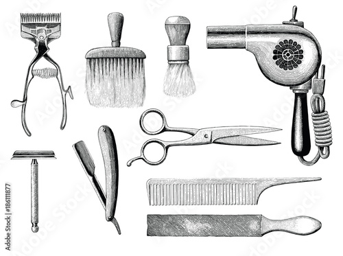 Vintage barbershop tools hand drawing engraving style