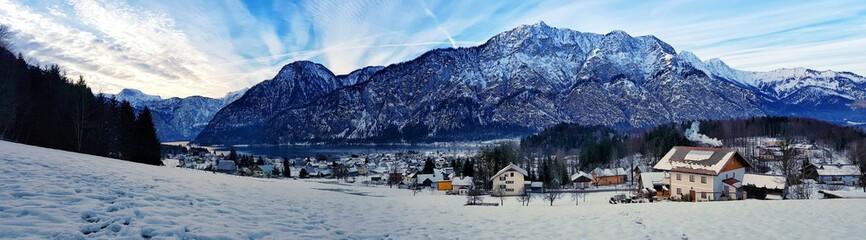Mountains by lake of Hallstatt