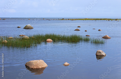View of the Baltic Sea with stones.