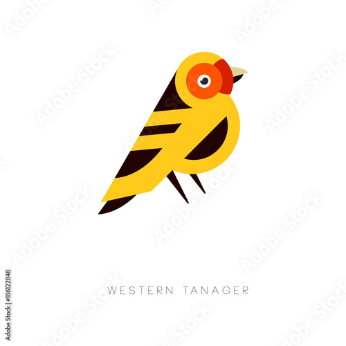 Creative geometric icon of western tanager. Bird logo in trendy flat style. Colorful vector element for business emblem, print or zoo store