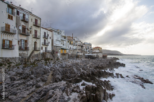 European Coastal travel townof Cefalu in Sicily, Italy in winter storm