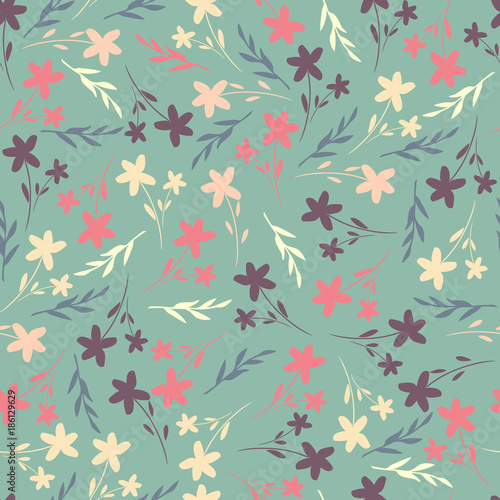 Fototapeta Seamless pattern with cute simple flowers. Floral vector ornament for textiles, Wallpaper, packaging, covers.