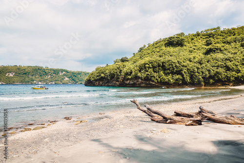 Boat in sea and sandy beach in tropical island - 186135058