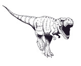 Angry Tyrannosaur Rex   Drawn Style Illustration Wall Sticker