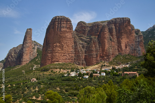 Foto op Aluminium Cappuccino Mallos de Riglos conglomerate rock formations, Huesca province, Spain