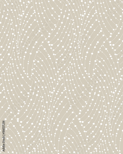 Fototapeta Abstract geometric pattern of the points, lines. A seamless vector background. Graphic beige and white pattern.