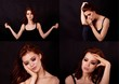 Girl in Studio on a black background. Red hair, great figure. Collage . Emotional state pretty girls