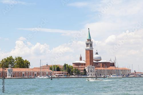 Poster Venetie San Giorgio Maggiore Island and the marina, Venice, Veneto, Italy viewed across the lagoon