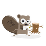 funny beaver with tree stump clipart - 186138896