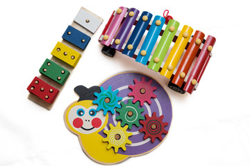 wooden toys xylophone, snail and sorter
