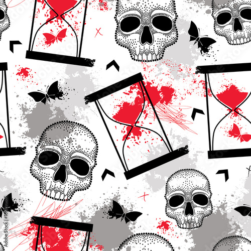 Poster Vlinders in Grunge Vector seamless pattern with dotted skull, hourglasses, butterfly, blots and arrows in red and black on the white background. Abstract background in creative Trash Polka and dotwork style.