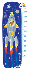 Funny dog in rocket. Meter wall or height chart © passengerz