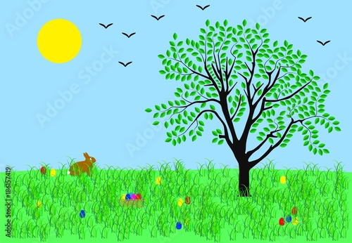 Foto op Canvas Pool vector illustration of a spring landscape with easter bunny and eggs