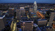 Aerial of Cincinnati, Ohio after dark