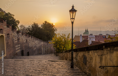 Autumn morning in Prague. Prague at sunrise. Poster