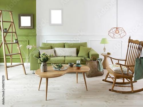 modern green living room white wall green sofa design   Buy Photos ...