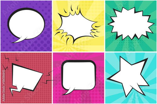 Fotobehang Pop Art Retro comic speech bubbles on colorful dotted and striped backgrounds in pop art style. Green, blue, red, yellow, purple and pink places for comics book, advertisement text, web design, badge, banner