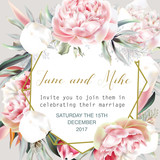 Beautiful wedding invitation card or save the date with peach peony, leafs and tropical plants - 186187804