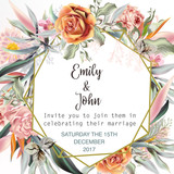 Beautiful wedding invitation card or save the date with peach roses, leafs and tropical plants - 186187827