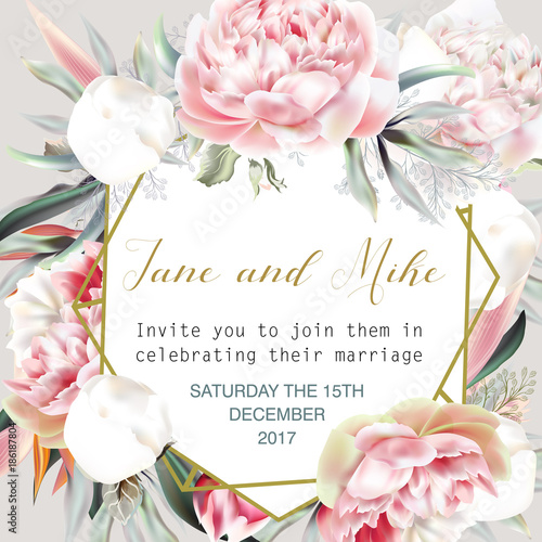 Fototapeta Beautiful wedding invitation card or save the date with peach peony, leafs and tropical plants