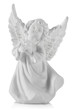 Gypsum sculpture of a white angel on white background, close up
