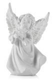 Gypsum sculpture of a white angel on white background, close up - 186193859