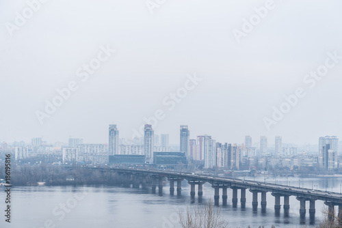 Foto op Plexiglas Kiev panarama view on city in fog