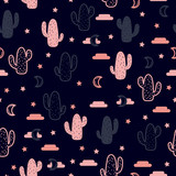 Vector seamless pattern with succulent cactus, stars and moon. - 186196444