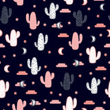 Vector seamless pattern with succulent cactus, stars and moon. - 186196446