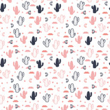 Vector seamless pattern with succulent cactus, stars and moon. - 186196456