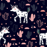 Vector pattern with cute unicorns, stars, cacti and clouds. Magic background with little unicorns and cacti. - 186196471