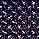 Vector pattern with cute unicorns, stars, cacti and clouds. Magic background with little unicorns and cacti. - 186196484