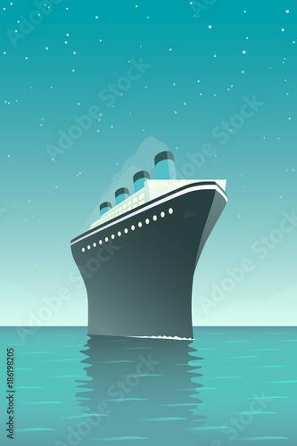 Fototapeta Vintage style vector illustration of giant cruise ship on the ocean at night