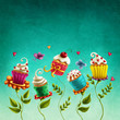 Cup cakes flowers - 186198460