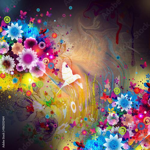 Aluminium Reznik Абстрактный красочный фон с цветами и птицей