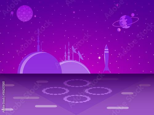 Foto Spatwand Violet Space base on the planet. Colonization. Futurism. Vector illustration
