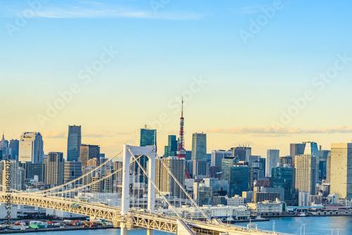 Fotobehang Tokio お台場から見た都市風景